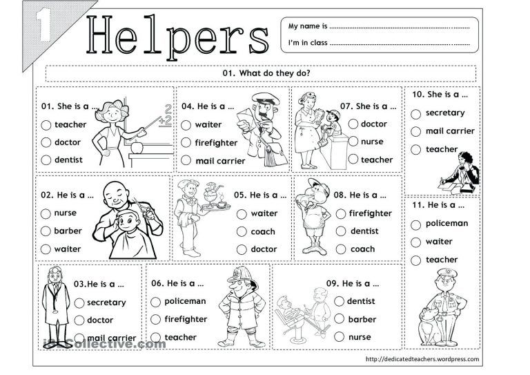 Printable Community Helper Coloring Pages For Kids Helpers Masks Printables Kindergarten Free Word Search Worksheets Puppet Gramatica Inglesa Educacion Ingles