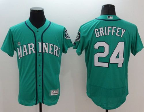 Mariners #24 Ken Griffey Green Flexbase Authentic