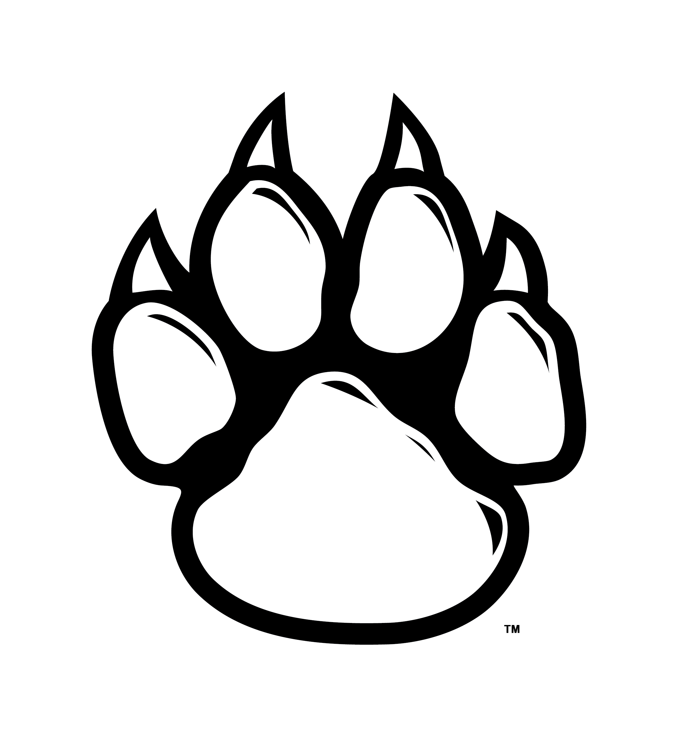 Paw print wolf. Arizona wildcat pawprint black