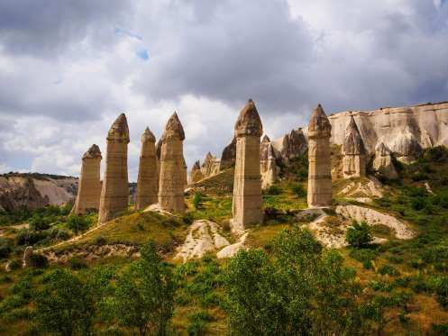 OVE VALLEY, TURKEY Situated in the Cappadocia region, these towering phallic structures were formed due to the erosion of volcanic rocks. The region was covered with volcanic ash due to an eruption approximately nine million years ago; the ash eventually solidified into soft rock several meters thick, which was then subjected to erosion by natural elements, forming an unusual landscape of cones, pinnacles and mushrooms.