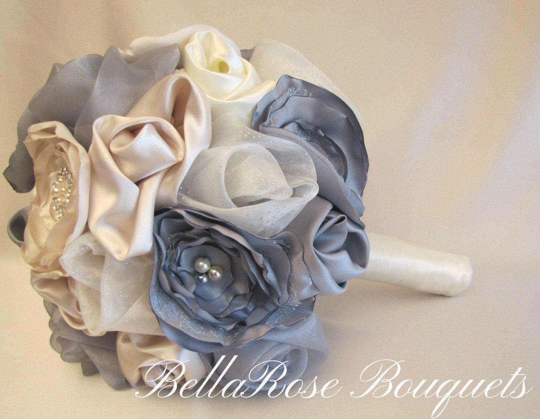 Gray wedding bouquet fabric flower wedding bouquet grey keepsake gray wedding bouquet fabric flower wedding bouquet grey keepsake brooch bouquet champagne taupe izmirmasajfo