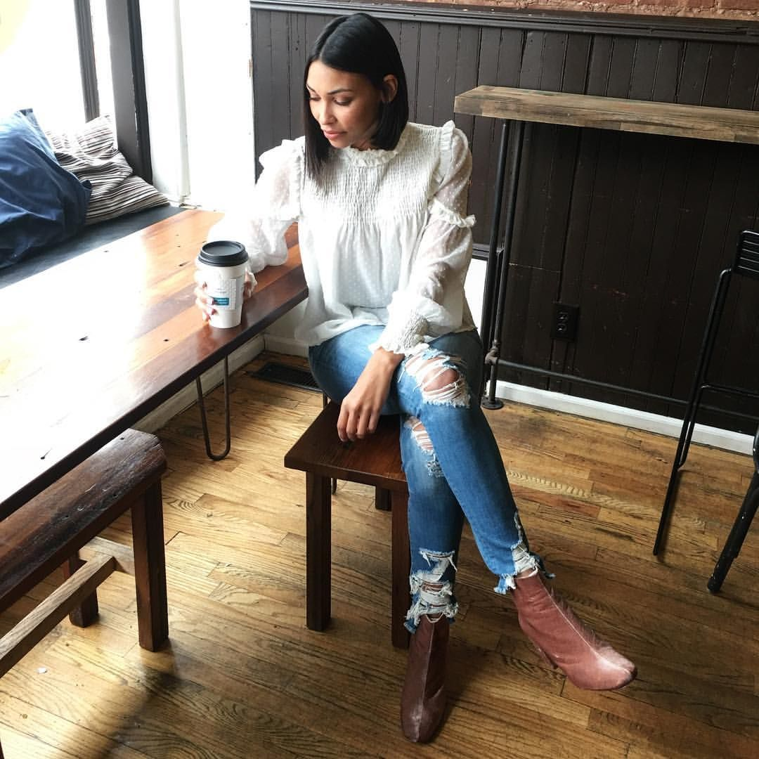 See this Instagram photo by @lovefashionfriends • pink velvet booties outfit,  White blouse and