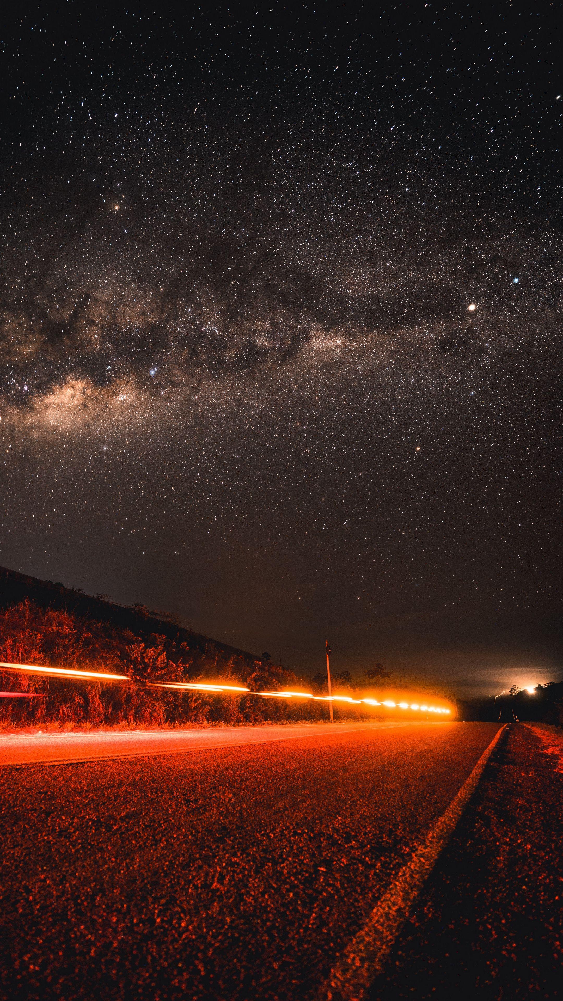 Sky road starrysky night wallpapers hd 4k background