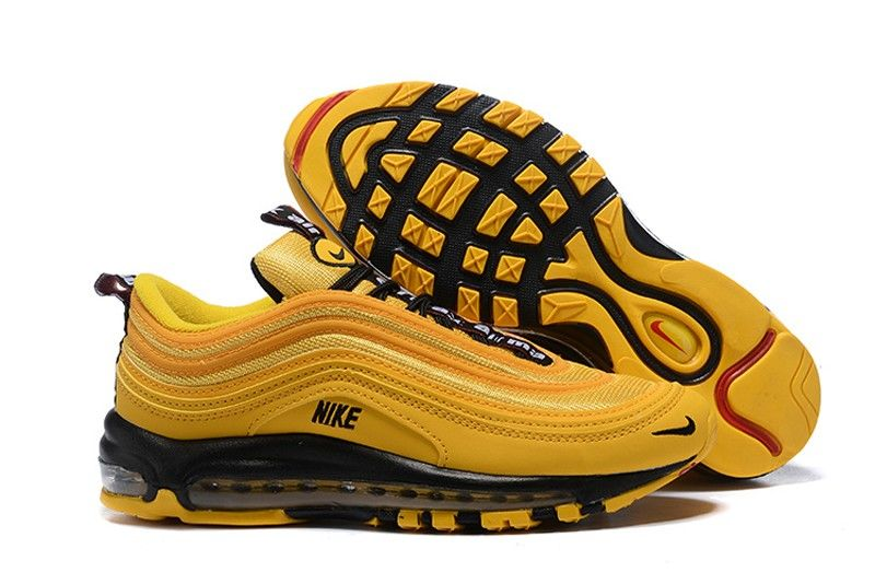 New Arrival Men S Nike Air Max 97 Premium Ginger Yellow Black Resistant Breathable Sneakers 312834 700 Nike Air Max Nike Air Max 97 Nike Shoes Air Max