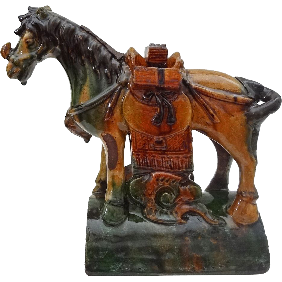 Best Chinese Horse Shape Sancai Roof Tile Figure Green And 400 x 300