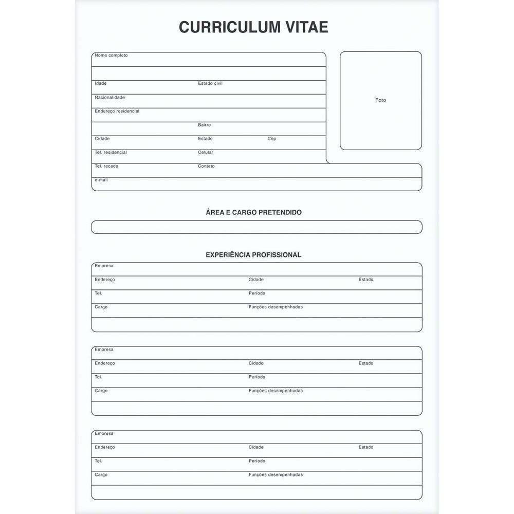 Curriculum Vitae Folha Única 50fls Nas Lojas Americanas