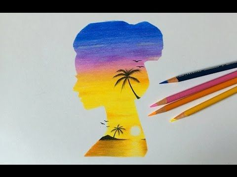 Drawing A Double Exposure Sunset Girl Art Pinterest Drawings
