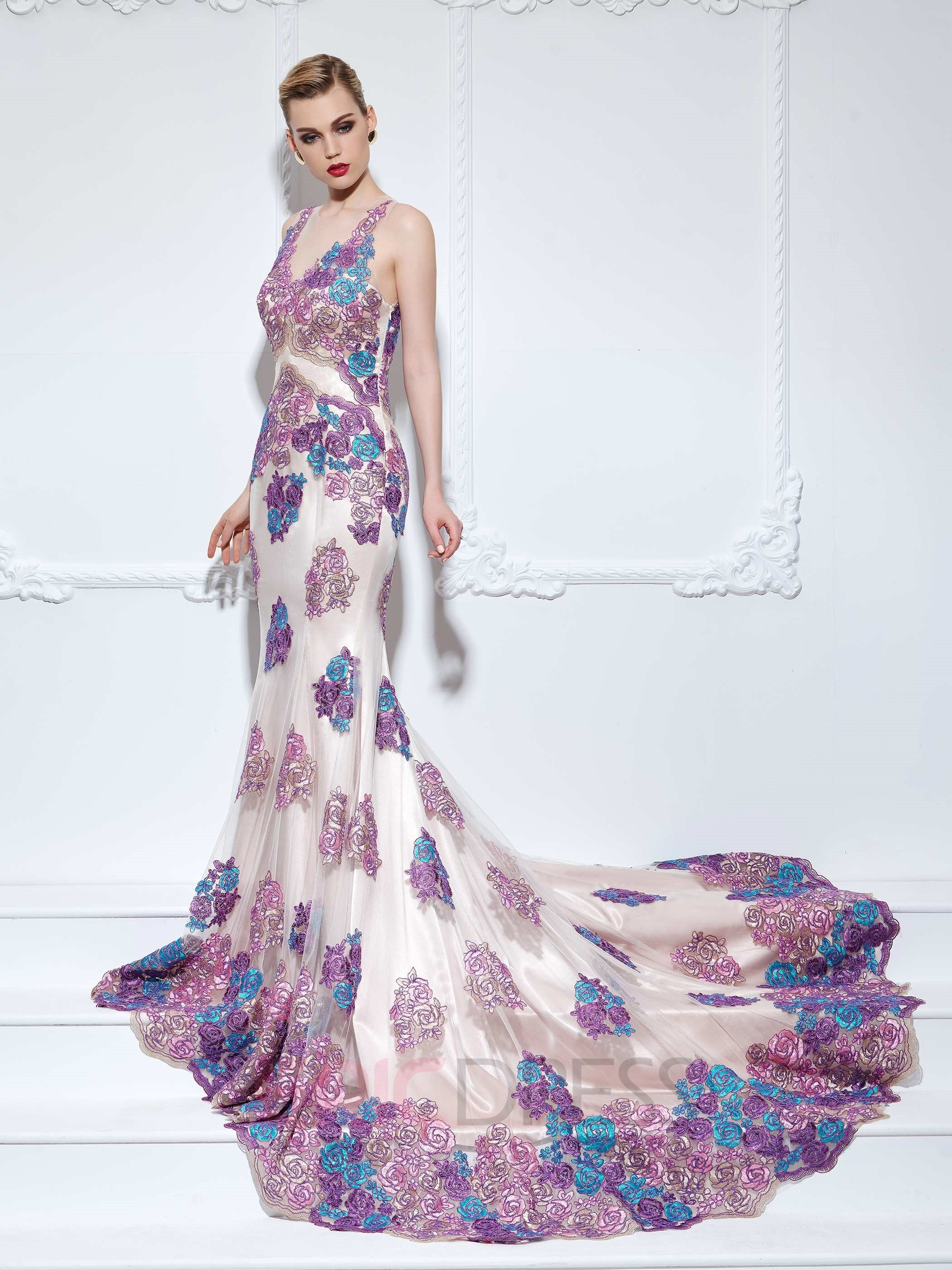 Mermaid vneck appliques lace flowers court train evening dress