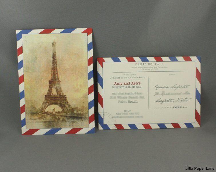 picnic in paris baby shower invitation