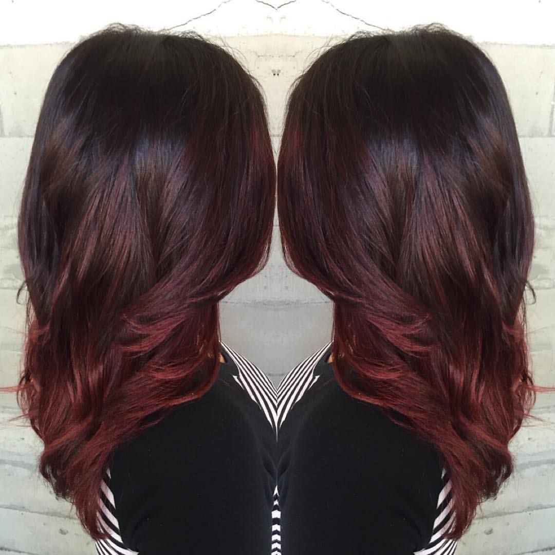 Coiffure 2 Couleurs Burgundy Bayalage Colorful Hair Pinterest Cheveux