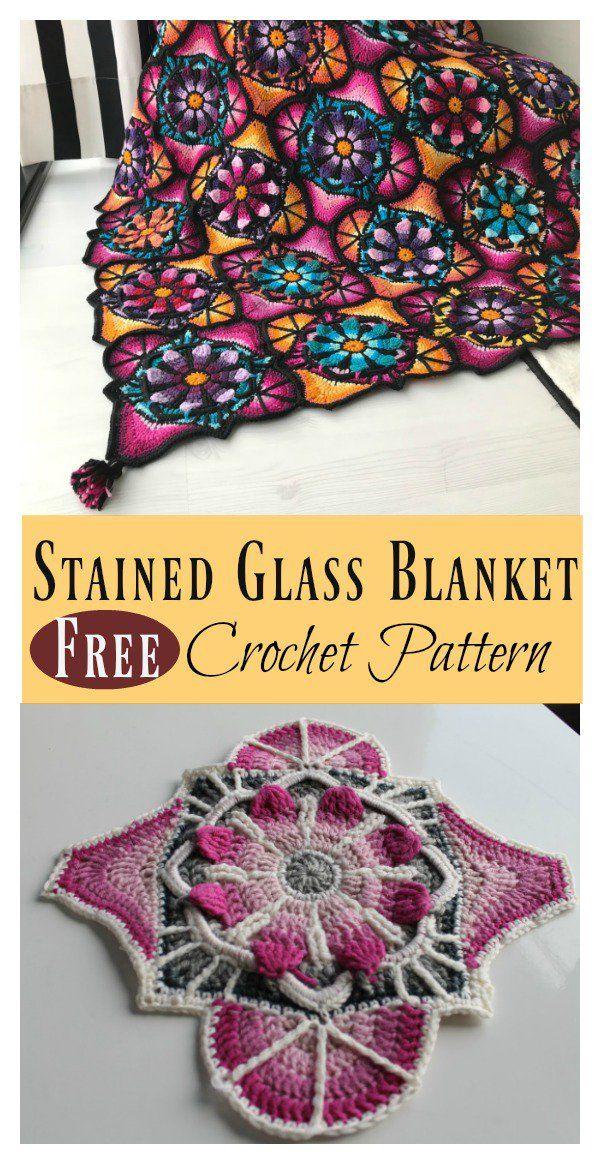 Stained Glass Flowers Afghan Blanket Free Crochet Pattern | crochet ...
