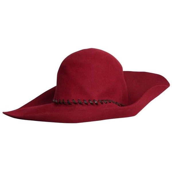 Preowned 1970s Yves Saint Laurent Couture Crimson Floppy Felt Hat With... ($1,103) ❤ liked on Polyvore featuring accessories, hats, red, leather crown, wide brim felt hat, vintage hats, stitch hat and couture hats