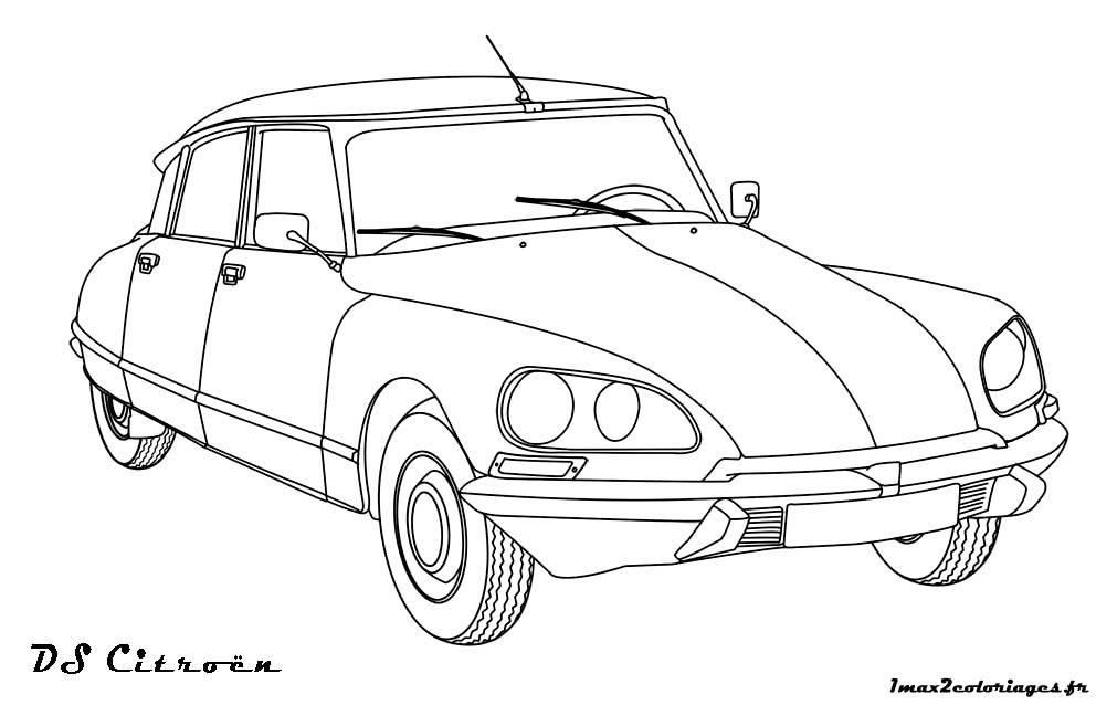 Image 93729 coloriage de rallye auta a moto citroen ds cars et automobile - Dessin vieille voiture ...