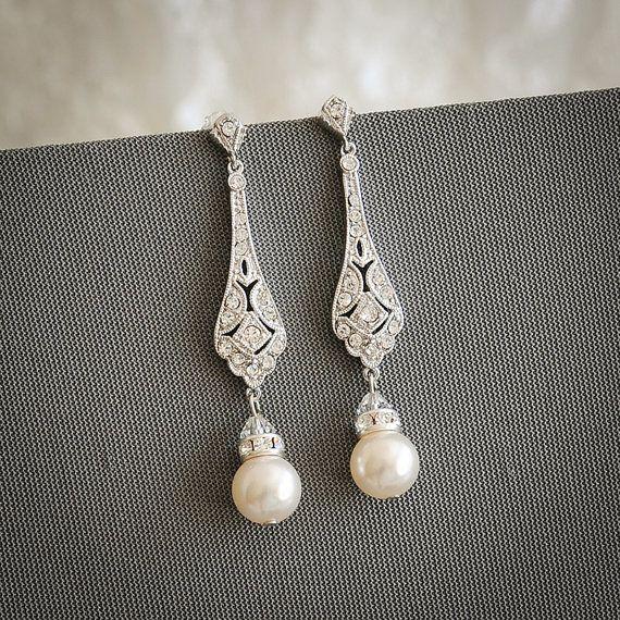 Bridal Earrings, Wedding Earrings, Swarovski Pearl Drop Dangle ...