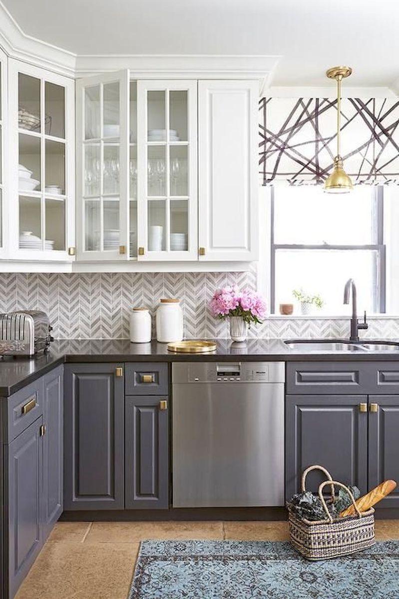 Gorgeous gray kitchen cabinet makeover ideas (46