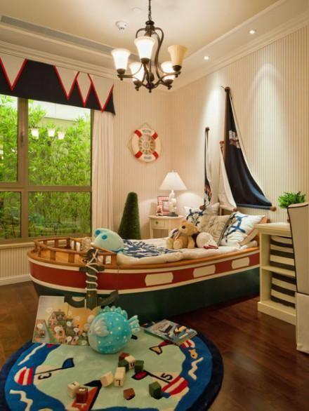 Nautical themed children bedroom. Love the sail headboard ...