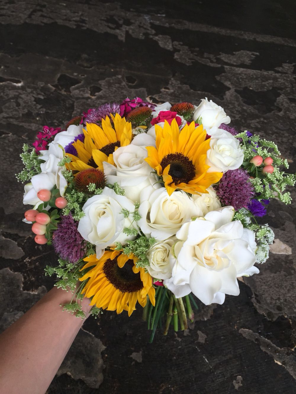 bridal bouquet with sunflowers + gardenias