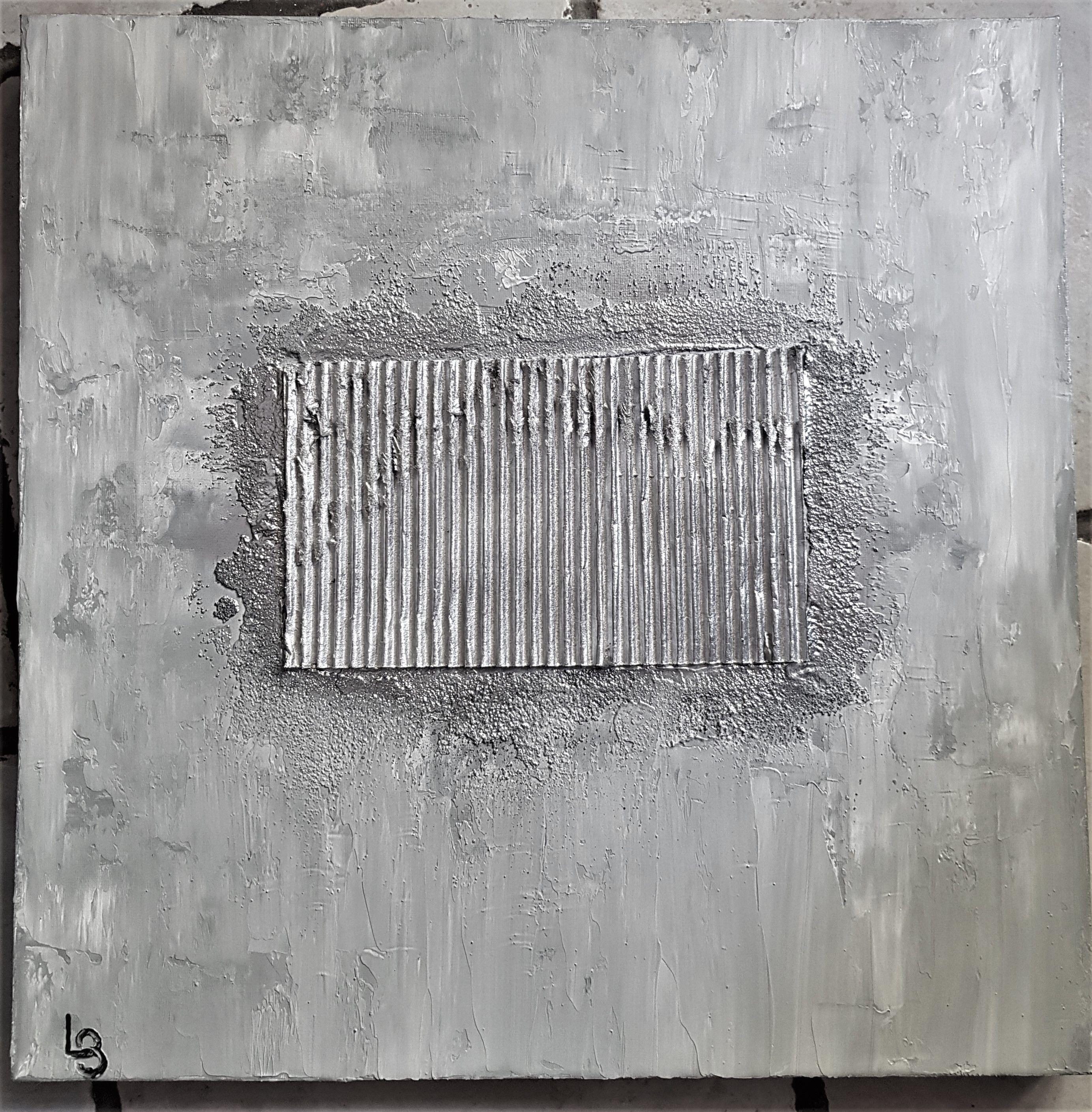 Comment Faire Du Gris Argenté En Peinture toile abstraite avec carton ondulé et sable noir gris
