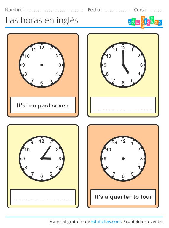 Horas En Ingles Las Horas En Ingles Libros Para Aprender Ingles Cuaderno De Ingles