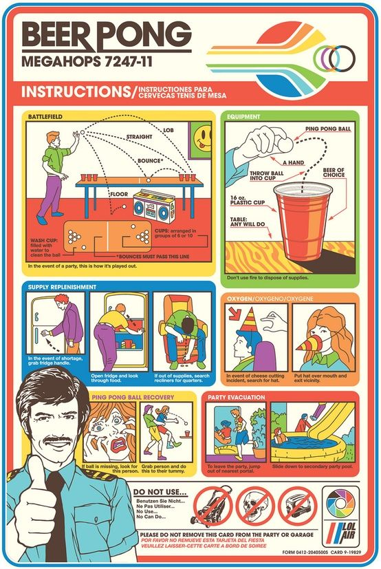 Beer Pong In Flight Instruction Manual  Beer  Wine Posters