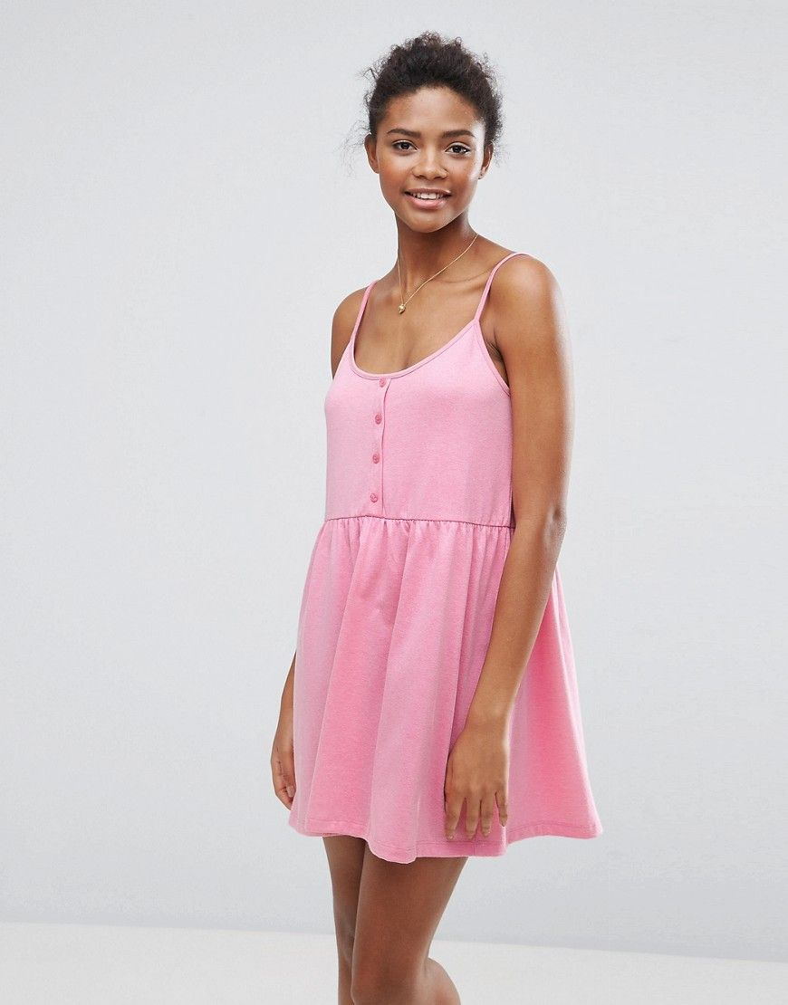 ASOS Cami Smock Dress with Button Placket - Pink | Products ...