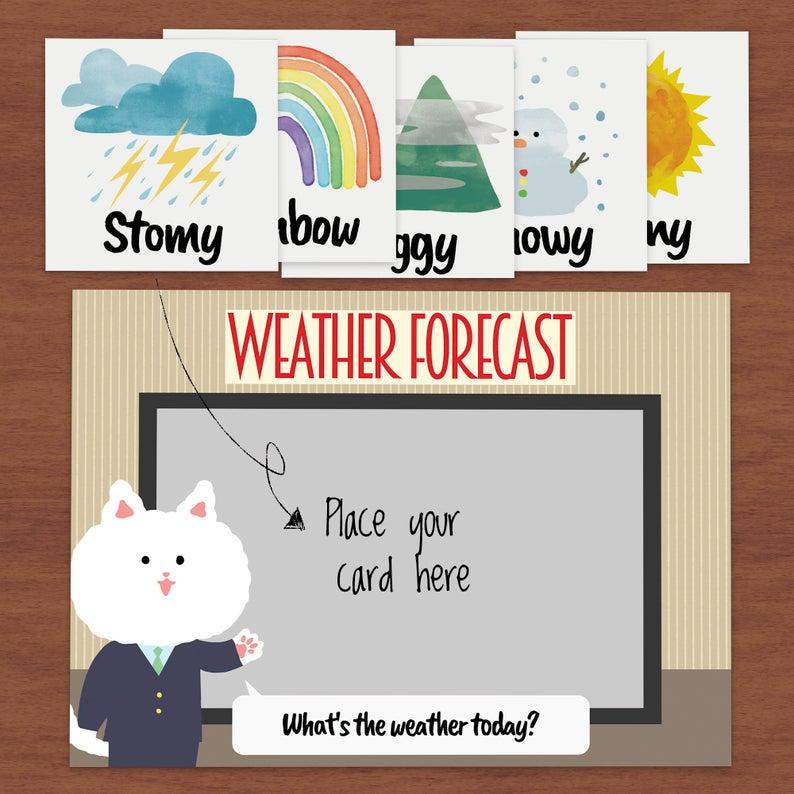 Weather Flash Card Preschool PrintableWeather cardsWeather
