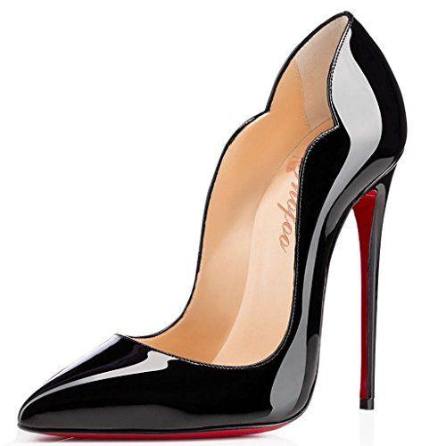 Shofoo - Stiletto Cuir Brillant Synthétique Talon Aiguille Bout Pointu Femme  Chaussures 775c1684316b