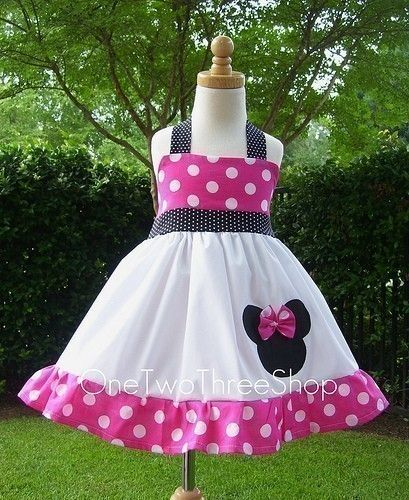 Custom Boutique Minnie  Mouse Halter Hotpink Dress 12 by amacim, $35.00