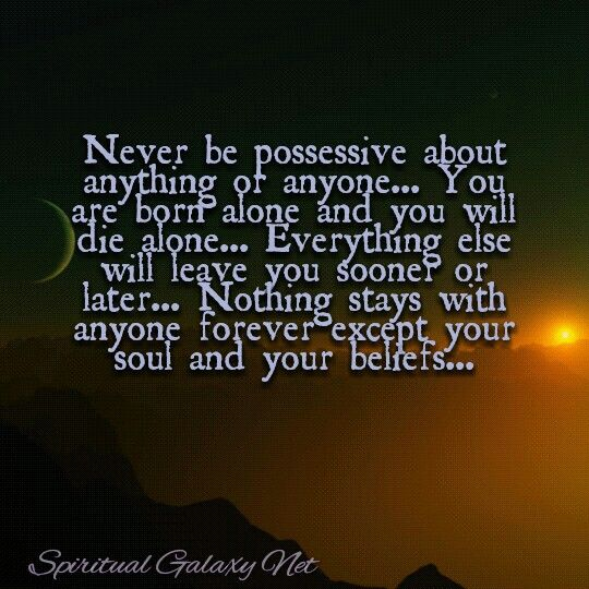 Never Be Possessive About Anything Or Anyone You Are Born Alone