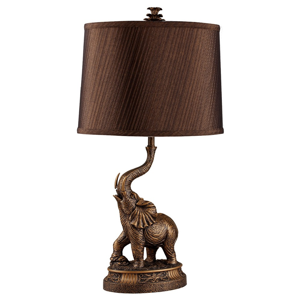 26 5 Novelty Metal Table Lamp With Elephant Base Brown Ore International Elephant Table Lamp Elephant Lamp Elephant Table