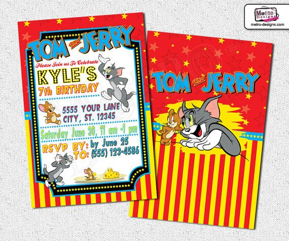 Tom and Jerry Invitations Tom Jerry Invitations Invitation