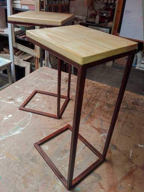 Mesas de luz de hierro y madera | Taller El Guatan | Muebles ...