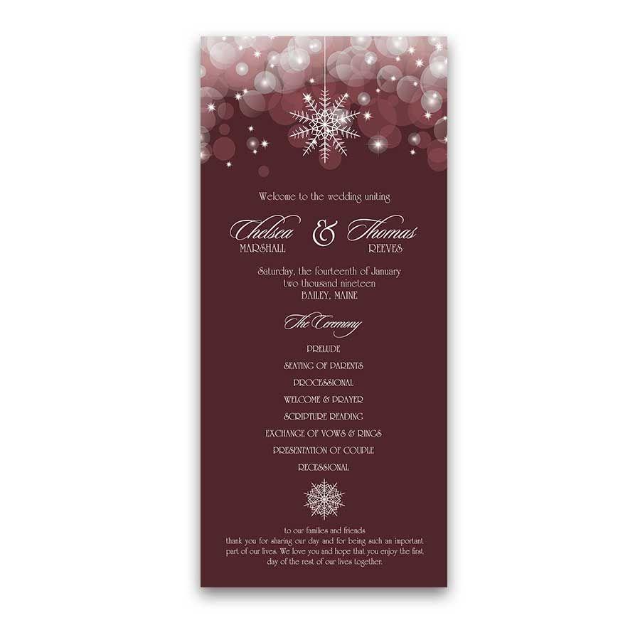 snowflake winter wedding programs burgundy wine wedding board 2