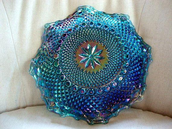 Blue Iridescent Carnival Glass Plate