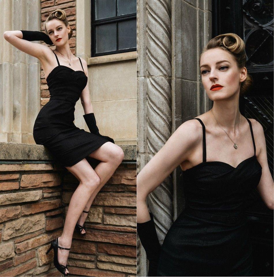 Black dress up gloves -  Vintage Vintagedress Wiggledress Madmen Blackdress Pinup Retro Hair