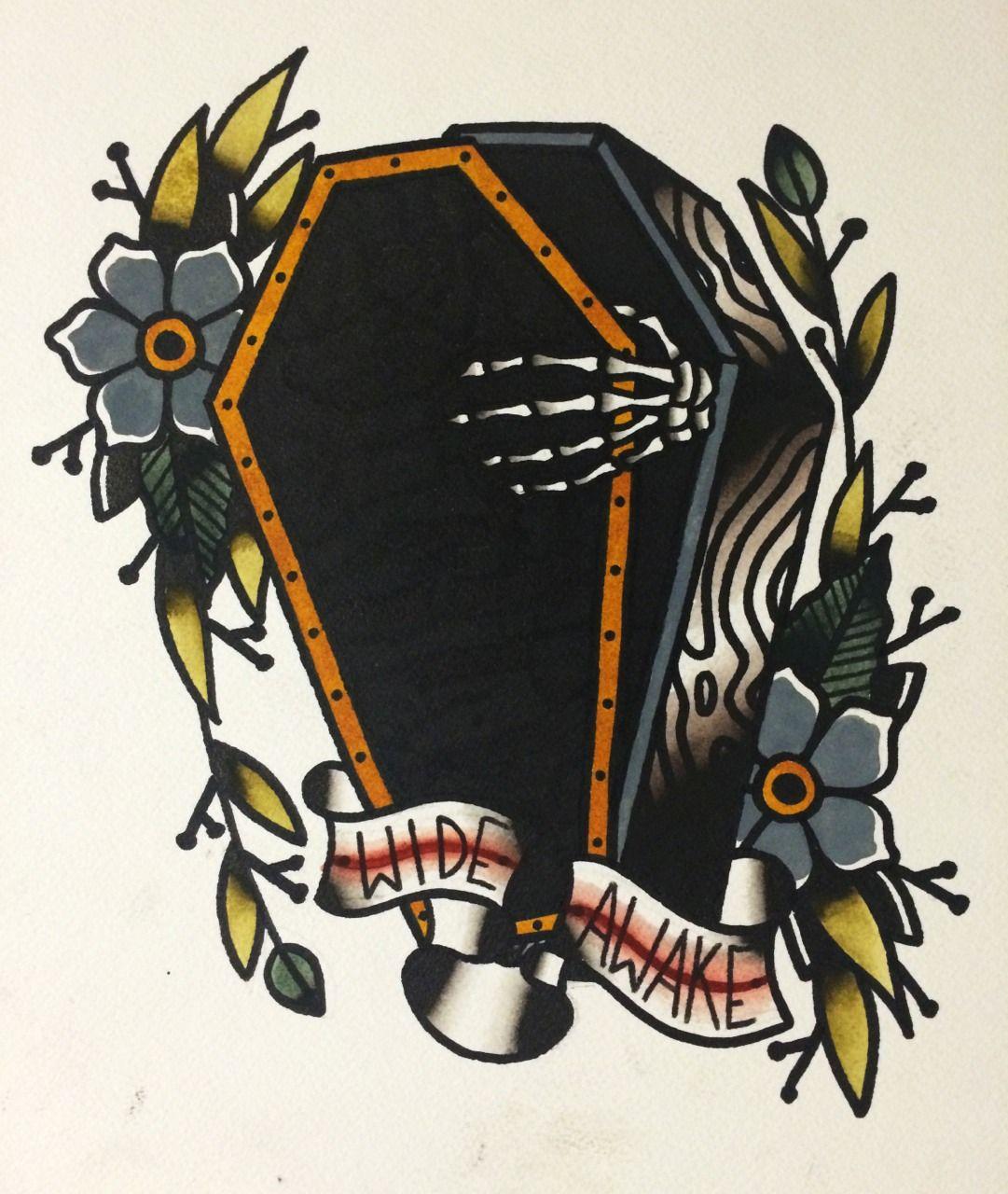 Traditonal Coffin Tattoo Halloween Tattoos Sailor Jerry Tattoos
