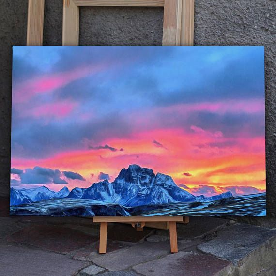 Sunset Canvas Mountains Canvas Mountains Wall Art Mountains Etsy Sunset Canvas Mountain Wall Art Mountain Canvas