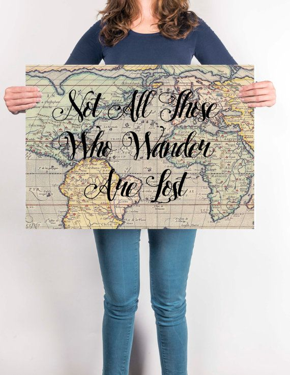 World map poster travel quote graduation gift world map poster world map poster travel quote graduation gift world map poster not all gumiabroncs Image collections