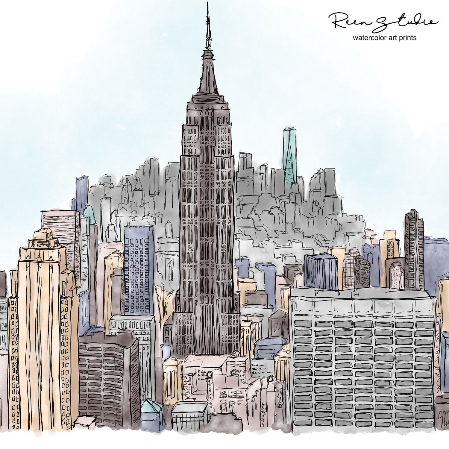 New York City Skyline Art Print - Digital Printable Art - Empire State Building Painting newyorkpainting #citypainting #buildingpainting #buildingdrawing #anniemusical #citylandscape #landscapedrawings #cityskylineart #citydrawing