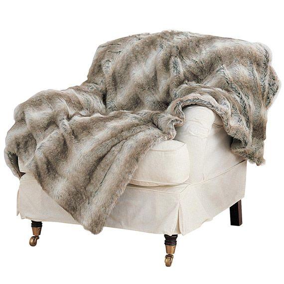 Arctic Fox Faux Fur Throw Large