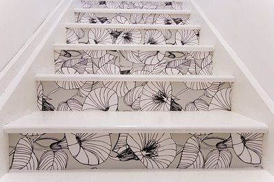 Wallpaper on stairs.