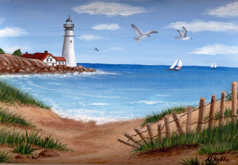 A View Of The Point Strandmalerei Leuchtturmmalerei Acrylmalerei Leinwand
