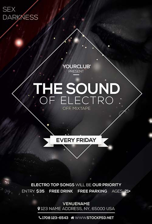 Electro Sound Free Psd Flyer Template  Dj Posters
