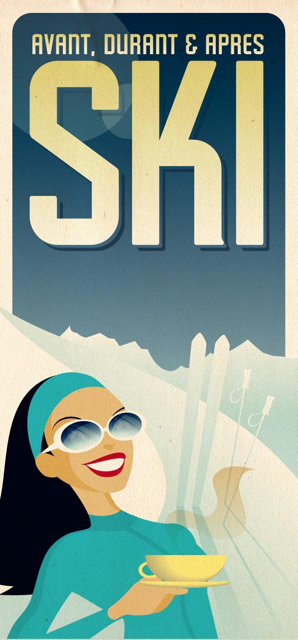 Creating a vintage ski poster design with illustrator cs4 – vector.