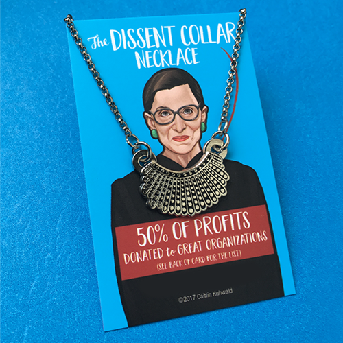 Ruth Bader Ginsburg dissent collar necklace Collar