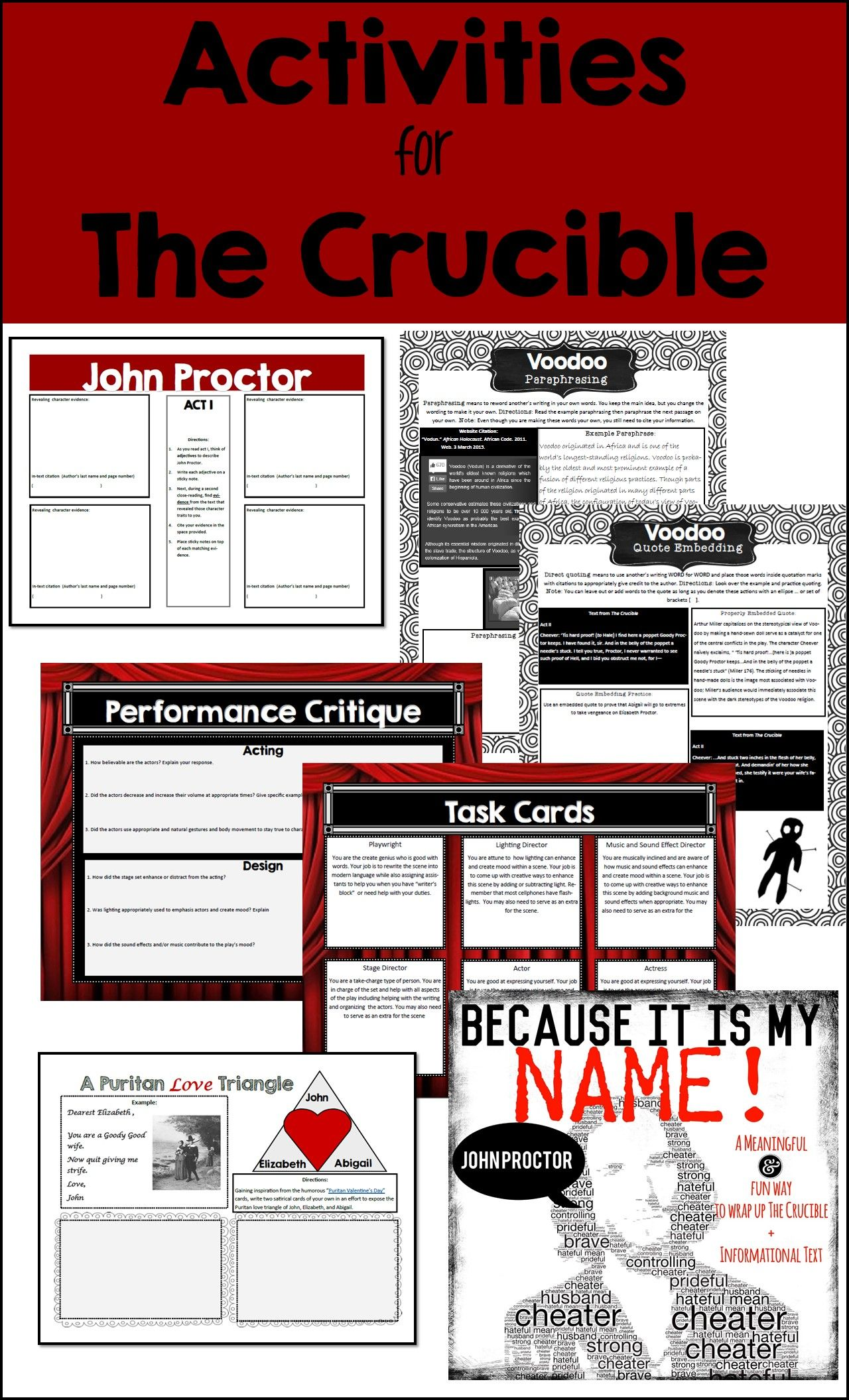 The Crucible Unit Plan With Engaging Activities And
