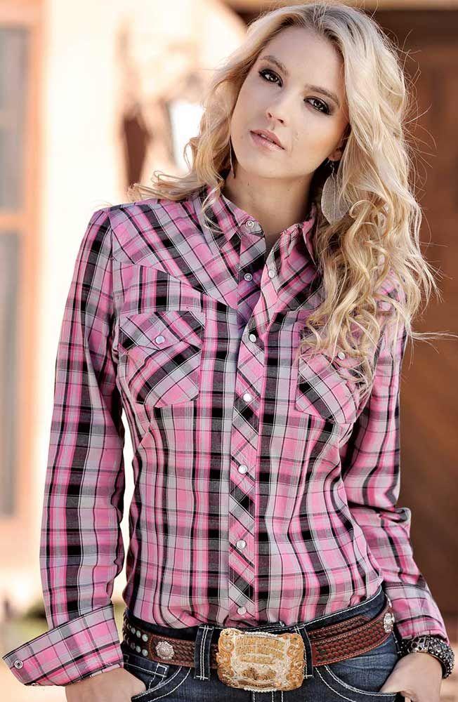 1295f3f3 Cruel Girl Womens Long Sleeve Plaid Snap Western Shirt - Pink $44.97 ...