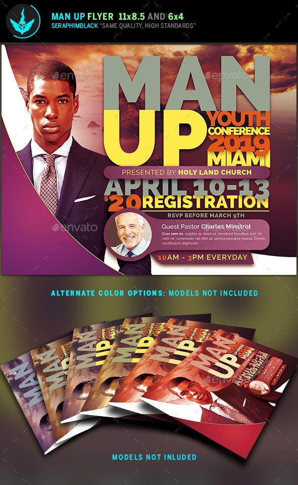 Man Up Church Conference Flyer Template  Flyer Template Template