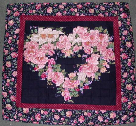 Victorian Heart Watercolor Mini Quilt (With images) | Pink ...