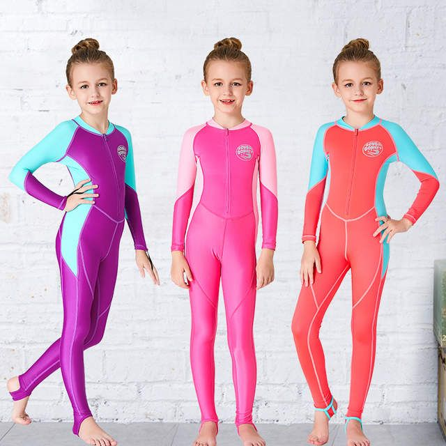 95f0f2f667329 Girls Wetsuit Kids Diving Suit One piece Long Sleeves UV protection Keep  Warm Children Swimwear Surfing Rash Guard Girls Sport